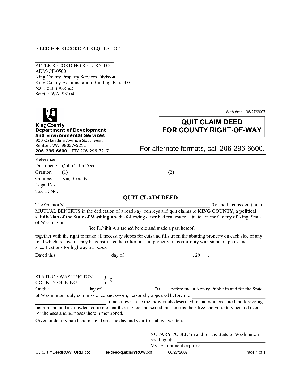 quit claim deed template free download - quit claim deed sample free printable documents