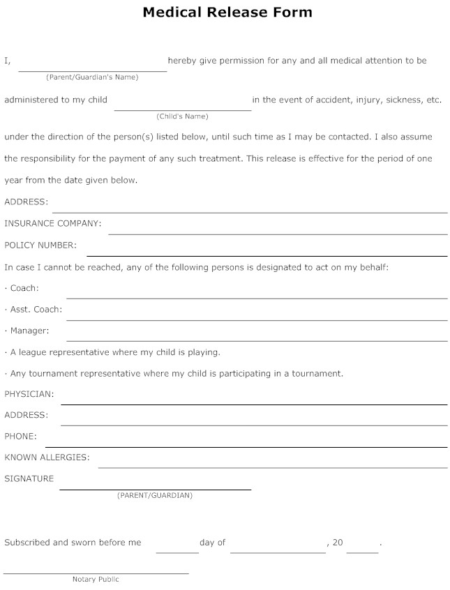 release form free printable documents. Black Bedroom Furniture Sets. Home Design Ideas