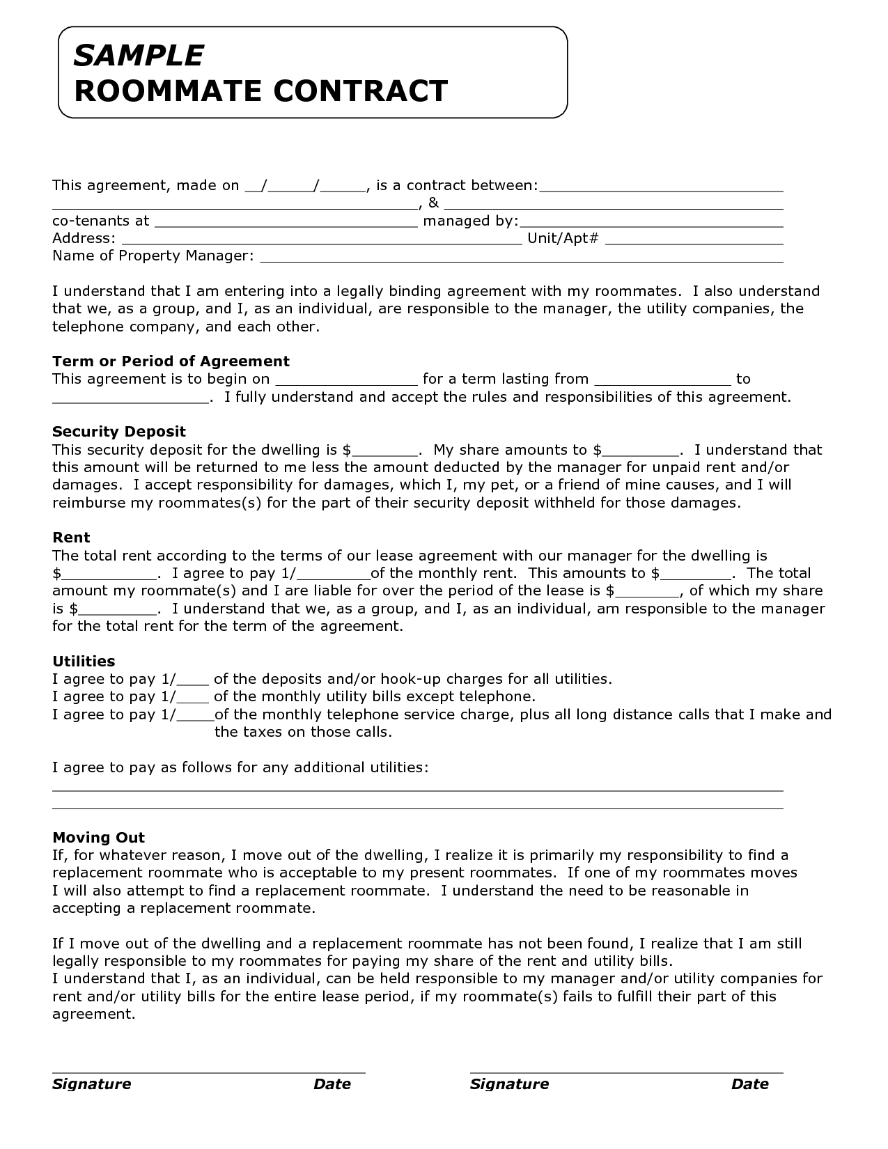 roommate contract agreement form