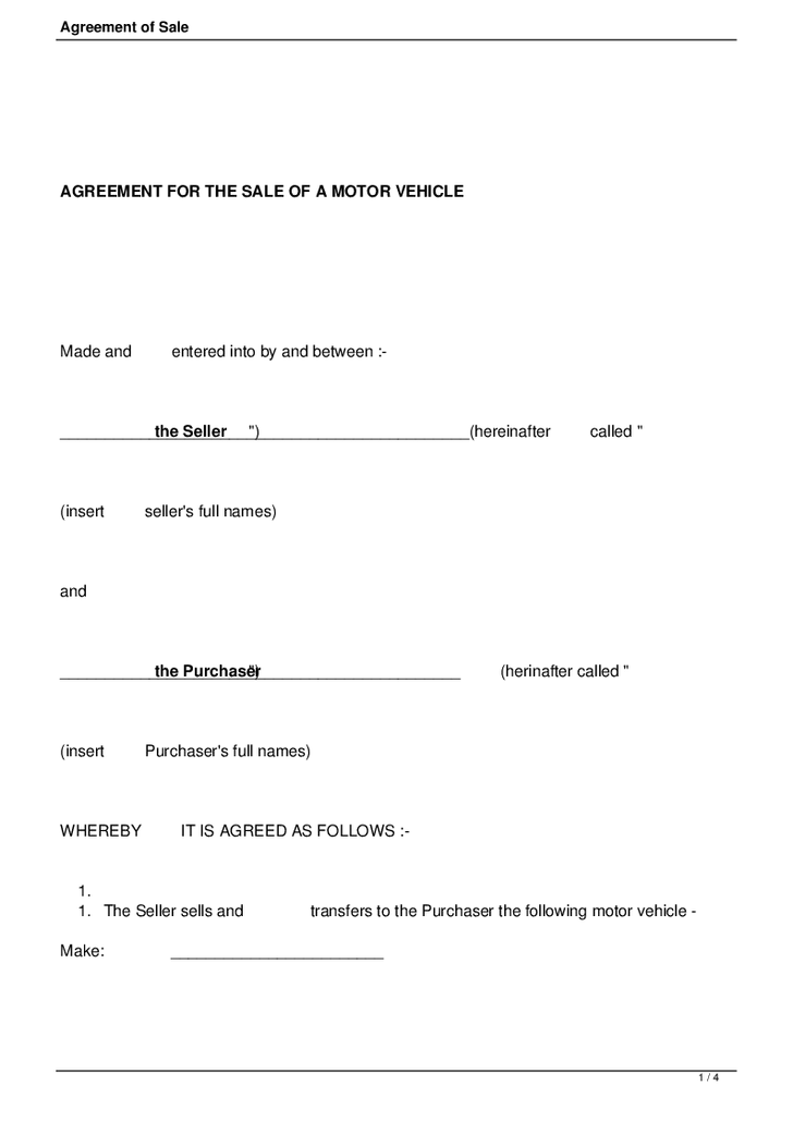 Sale Agreement Free Printable Documents