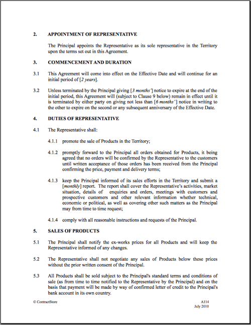 Sales agreement template free printable documents for International trade contract template