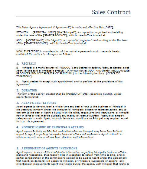 Sales Contract Free Printable Documents