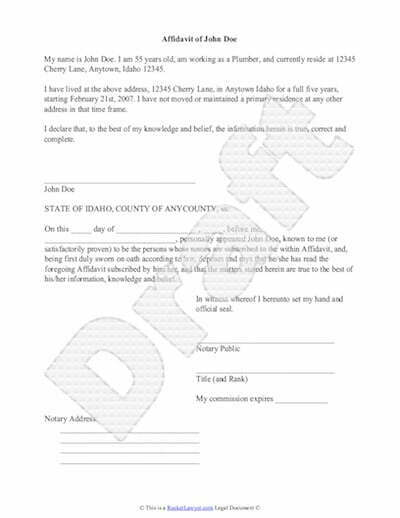 Sample Affidavit Free Printable Documents