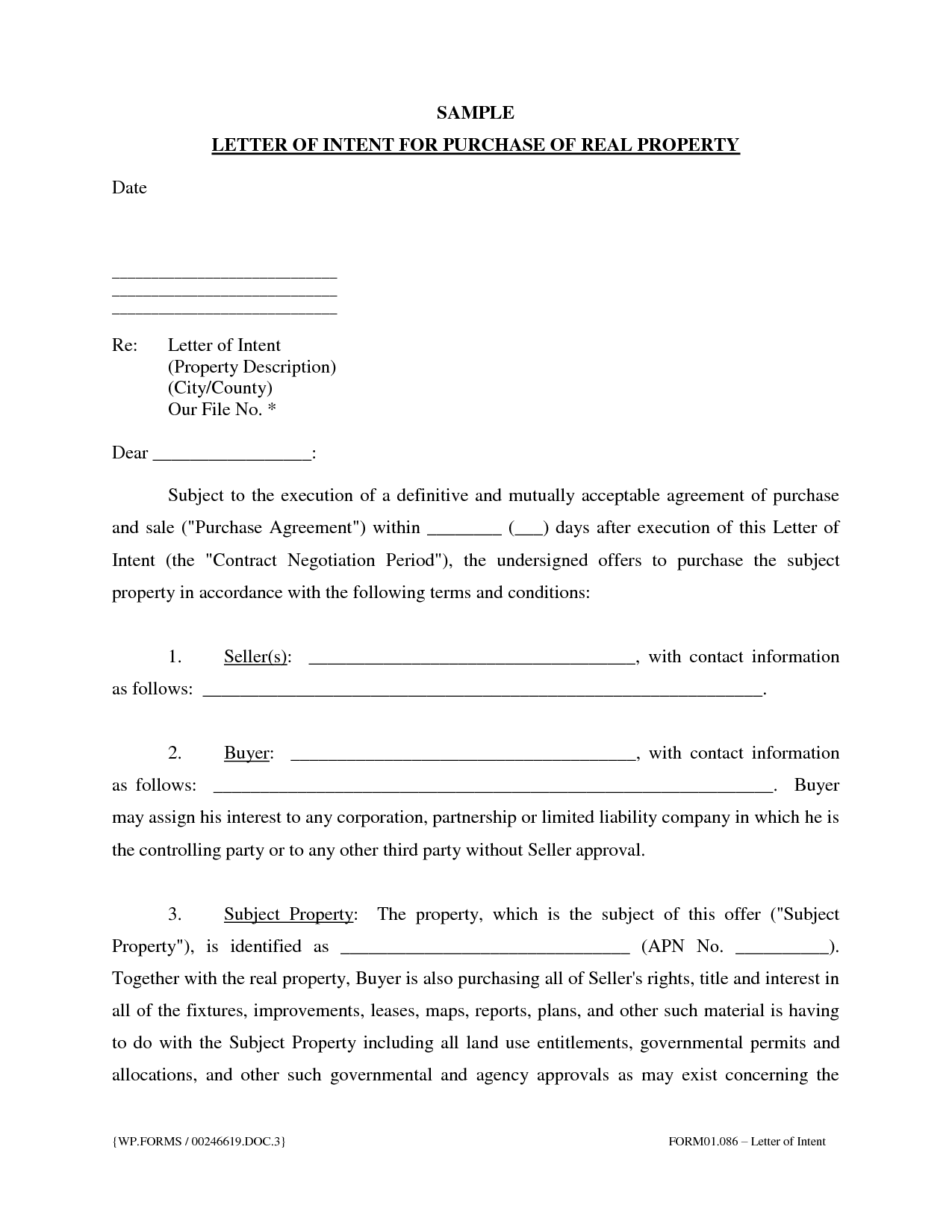 Sample letter of intent to purchase real estate free for Letter of intent to purchase property template