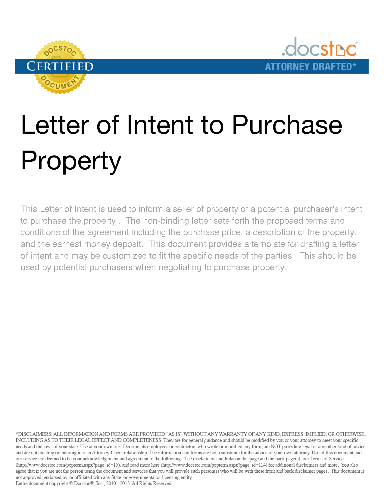 letter of intent to purchase real estate sample