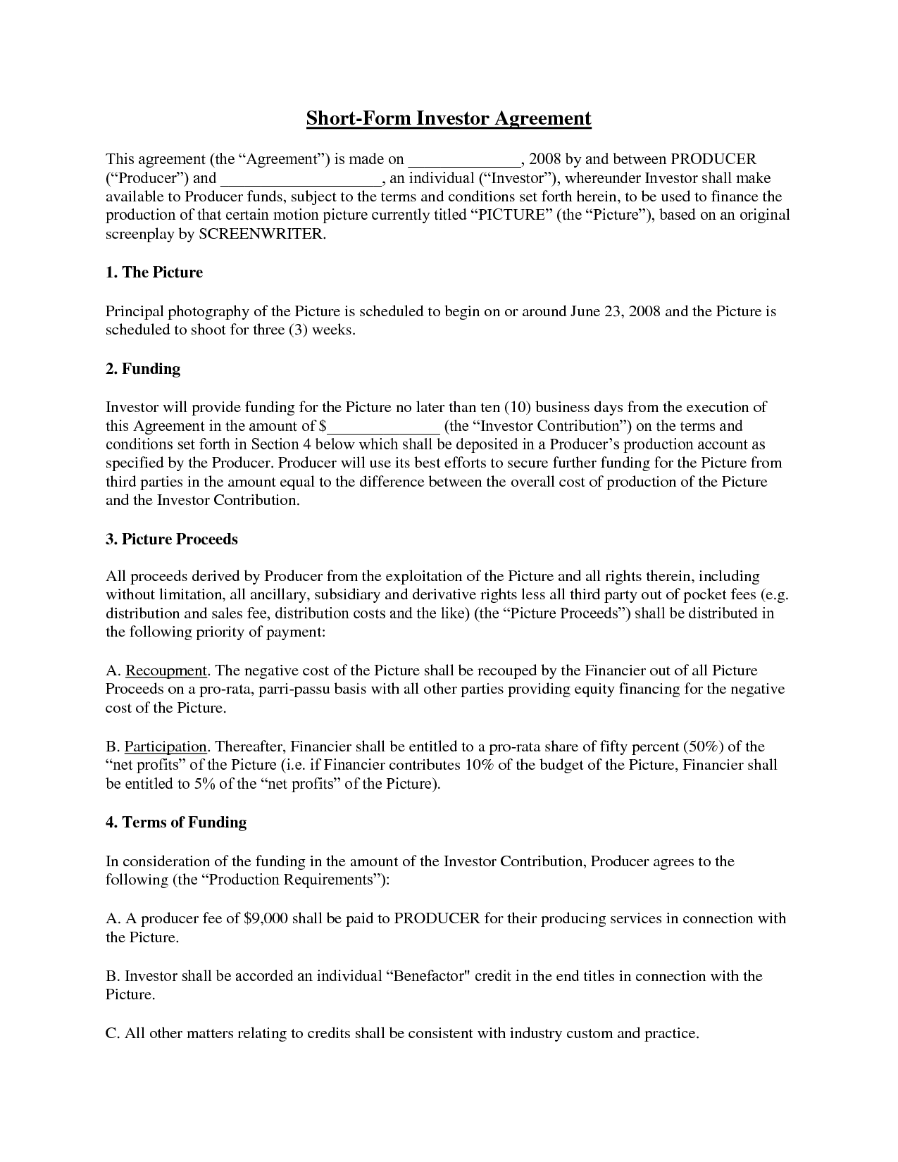 Simple investment contract template free printable documents for Silent partner contract template