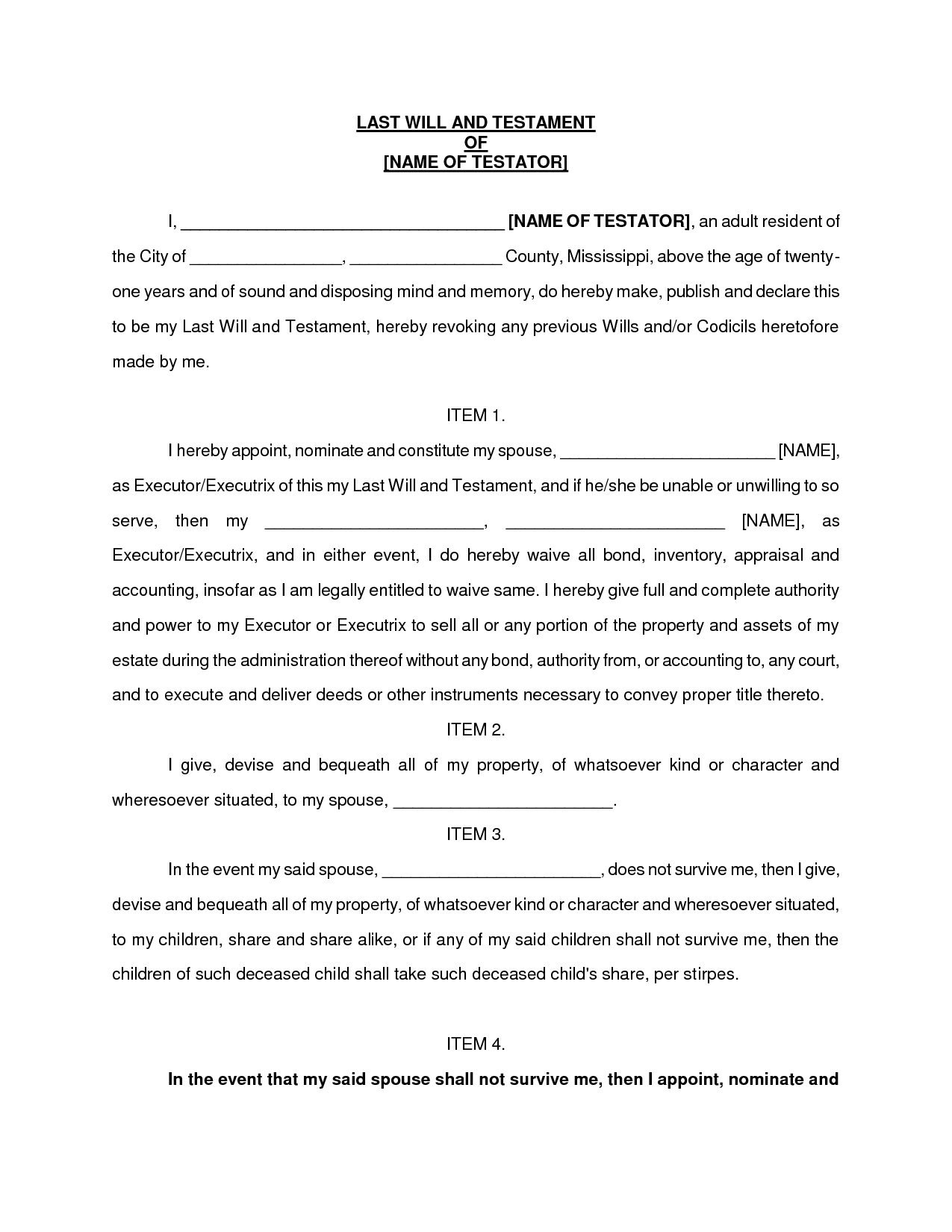simple last will and testament sample free printable