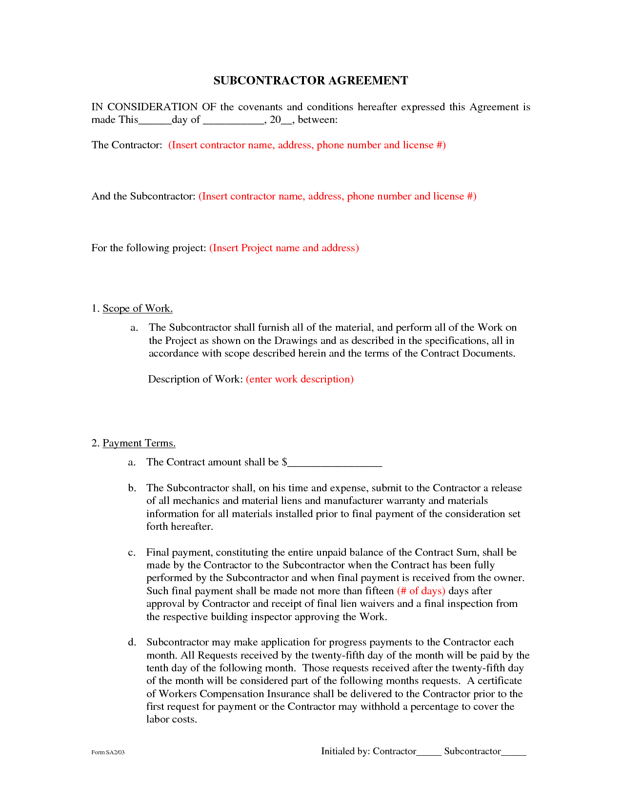 Subcontractor Agreement Form Free Printable Documents