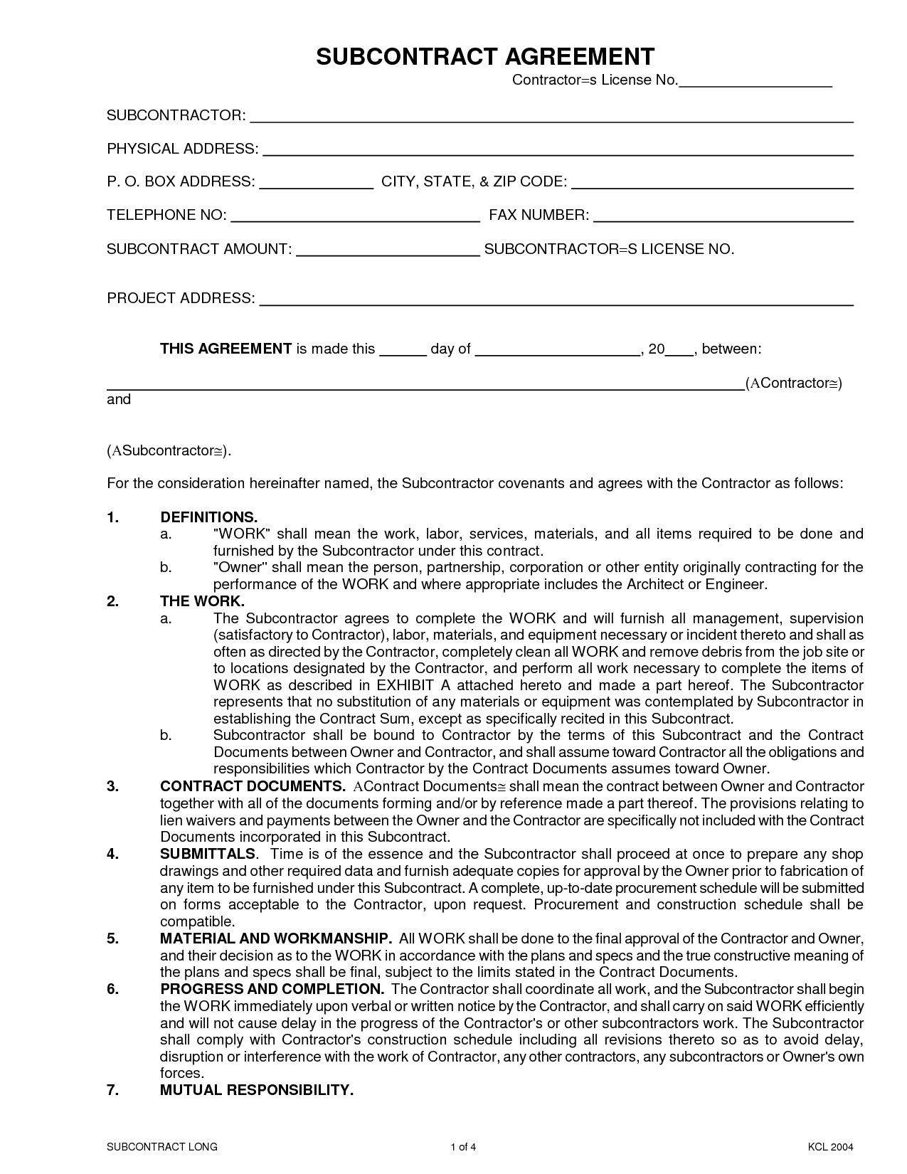 photo relating to Free Printable Subcontractor Agreement named Subcontractor Arrangement Variety - Free of charge Printable Information