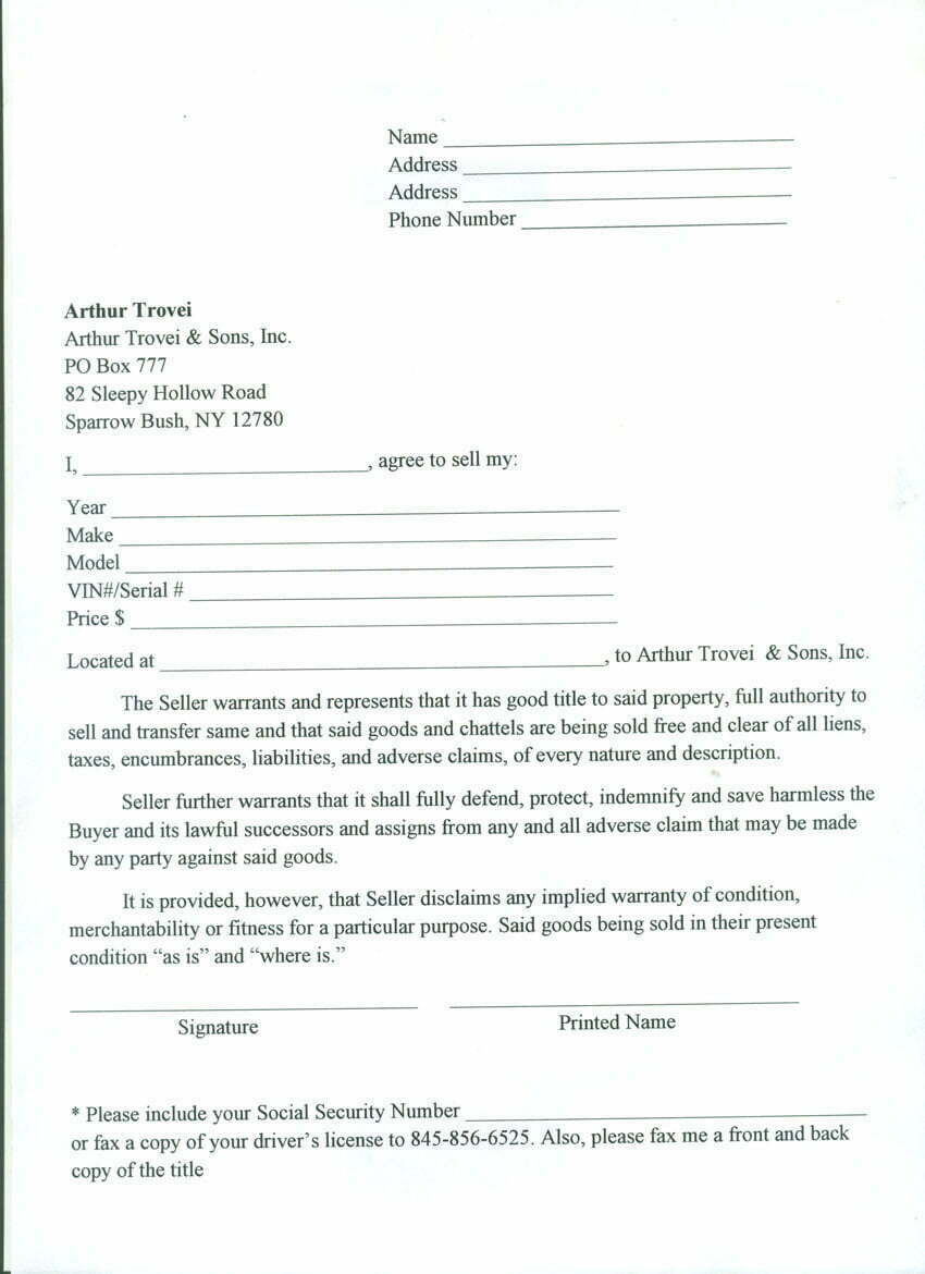 travel trailer bill of sale free printable documents
