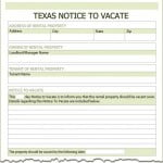 Vacate Notice Form