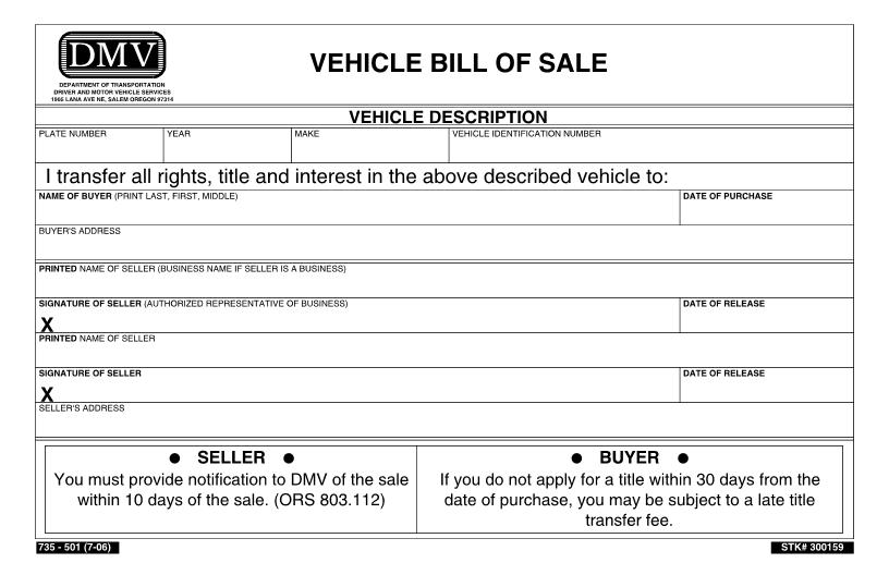 Bill Of Sale Oregon Car Template