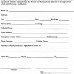 Waiver And Release Of Liability Form