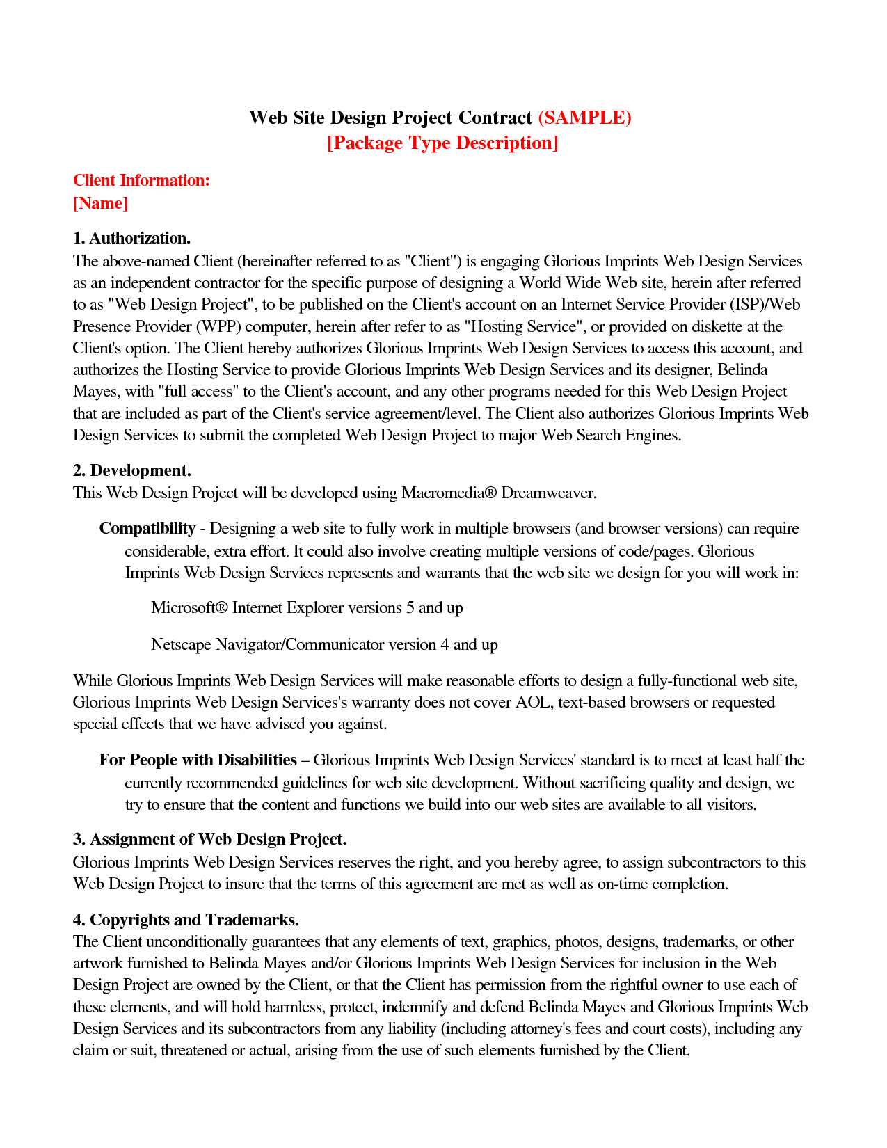 Web Design Contract Agreement Free Printable Documents