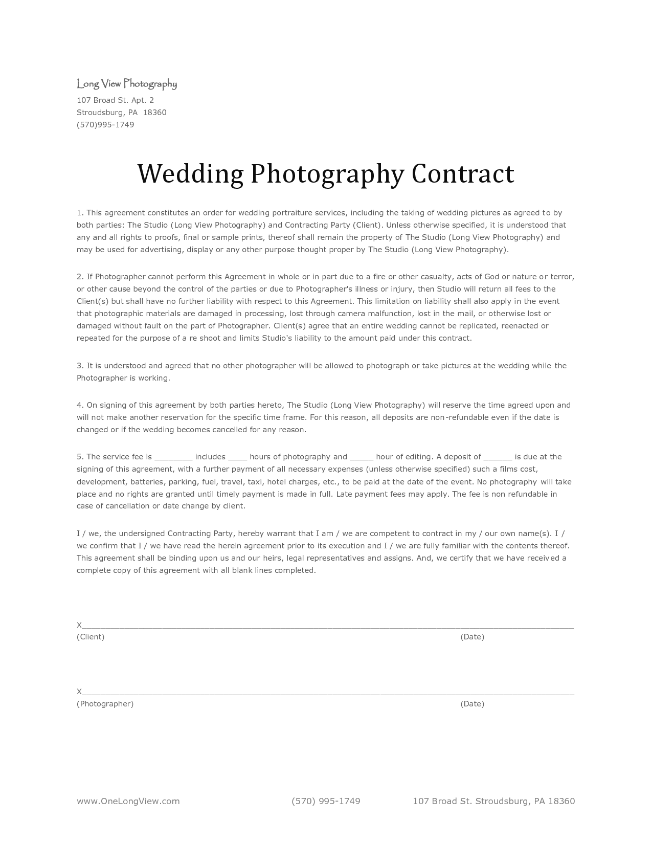 wedding photography agreement