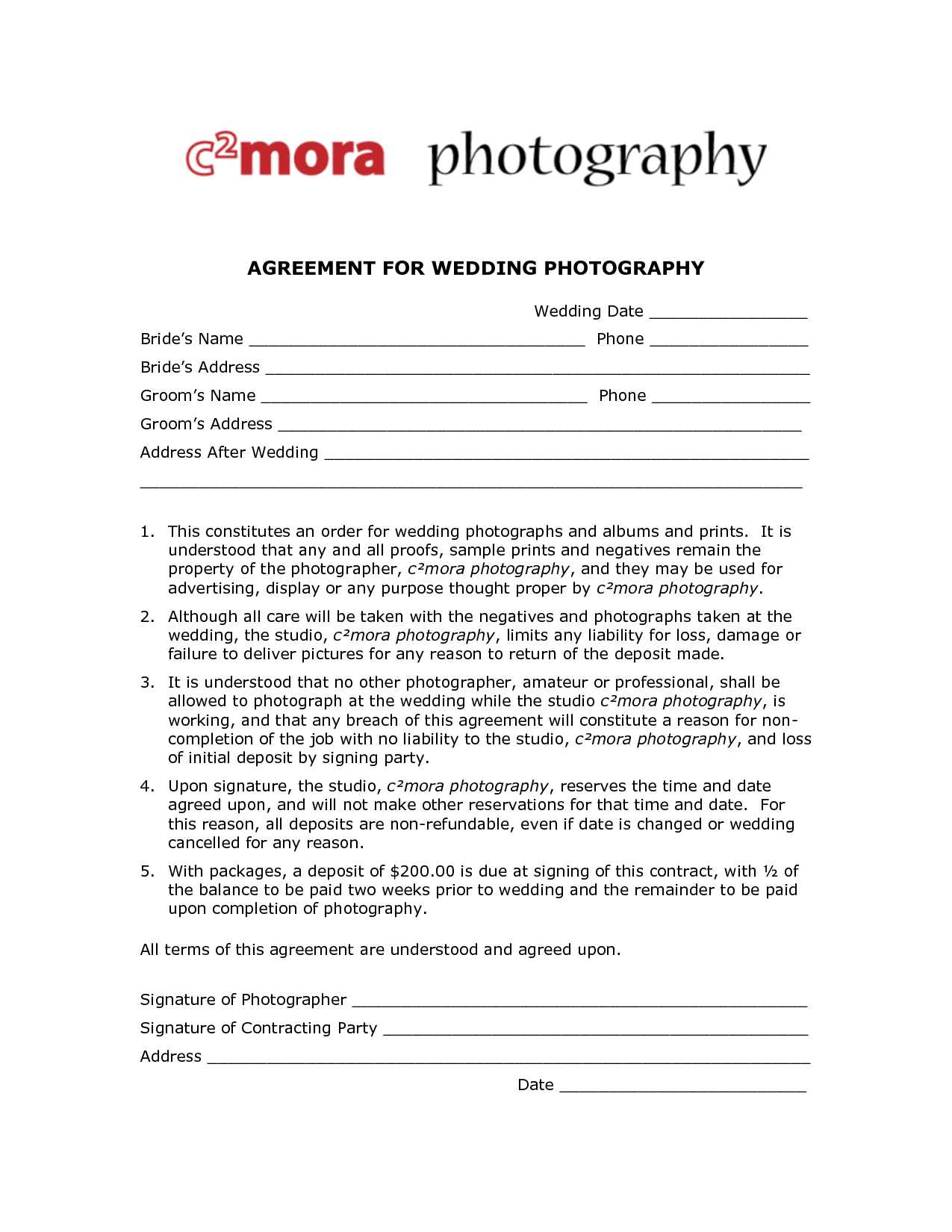 Wedding Photography Contracts - Free Printable Documents