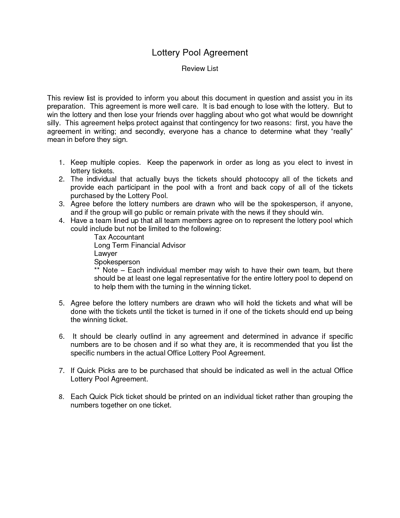 lottery group contract template lottery group agreement form free printable documents