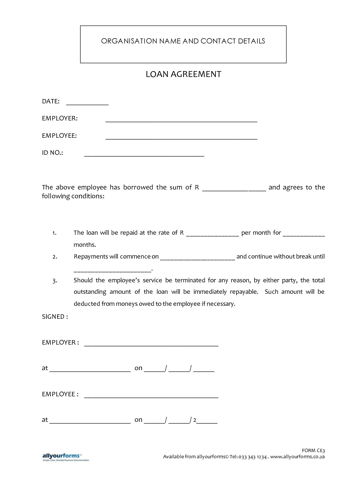 Cash Loan Agreement Free Printable Documents