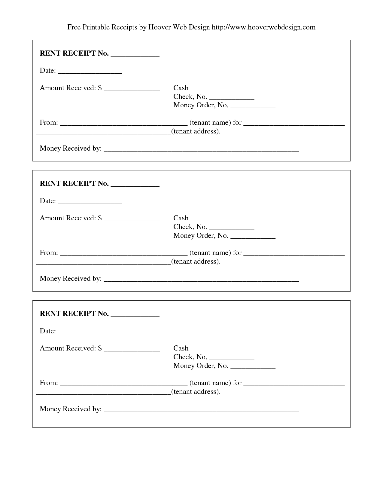 Free Rent Receipt - Free Printable Documents