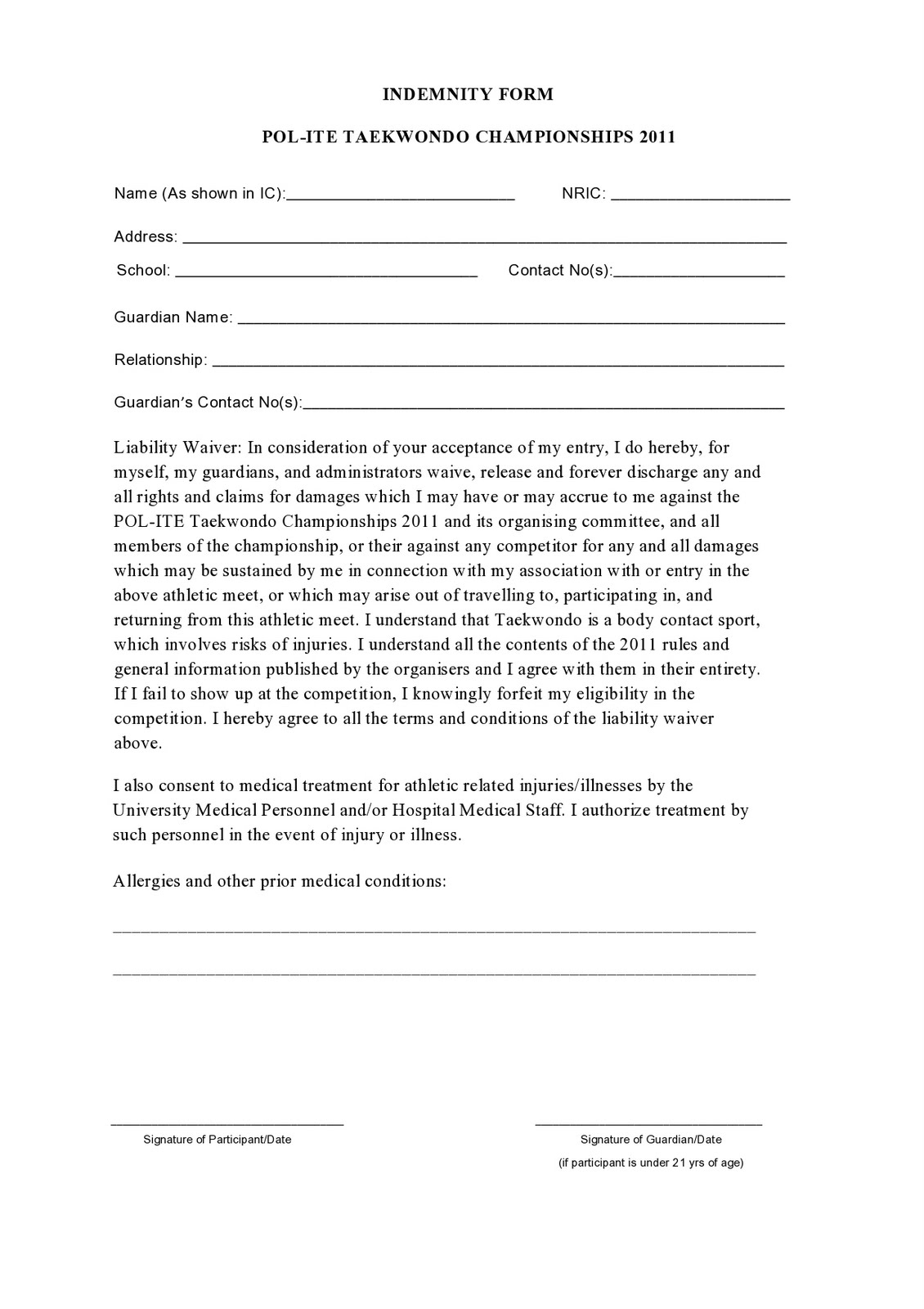 Indemnity Form Free Printable Documents
