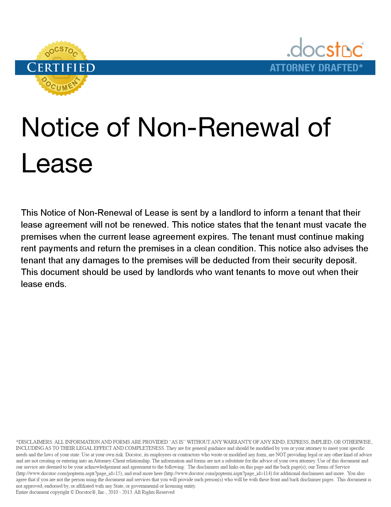 Non Renewal Letter To Tenant from londonmedarb.com
