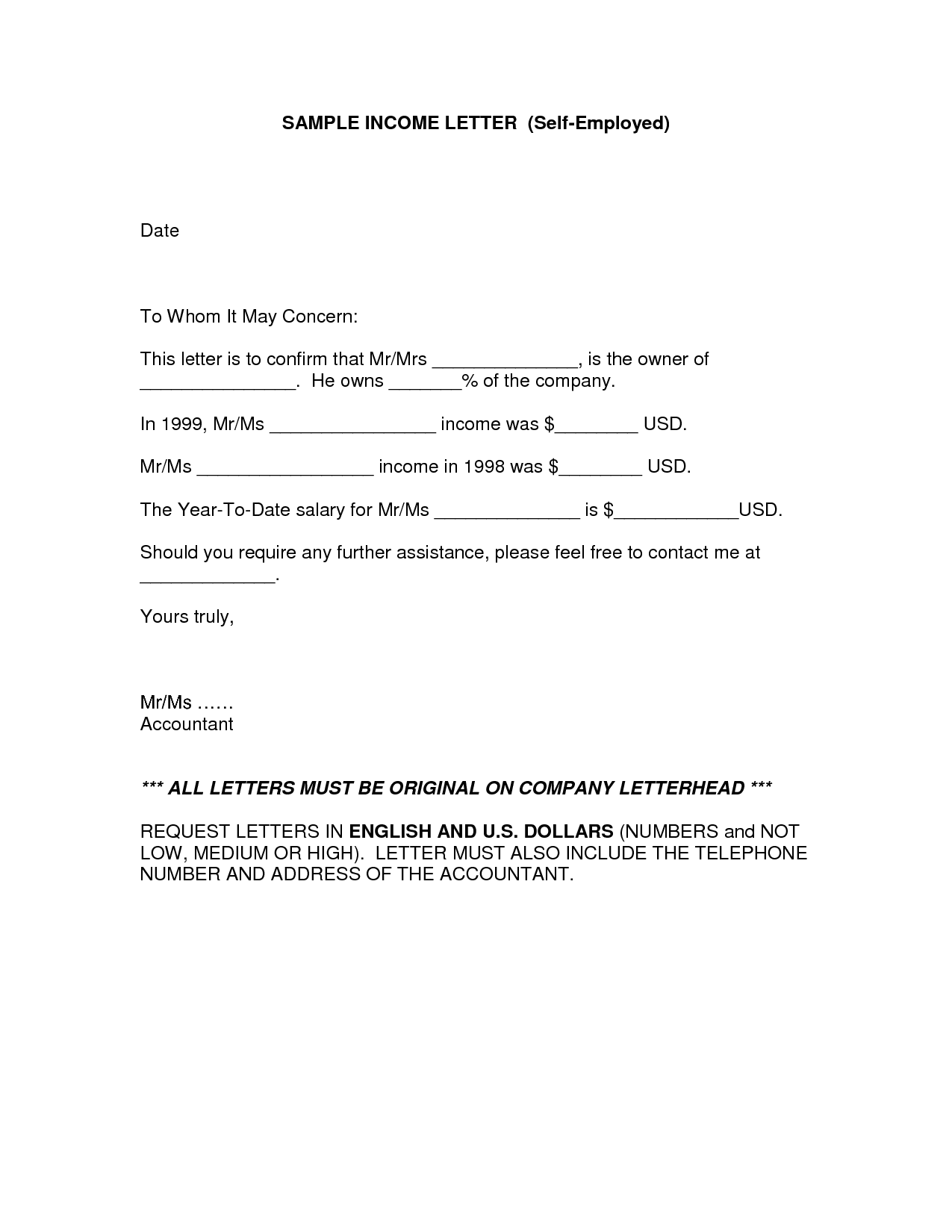 Proof Of Income Letter Free Printable Documents