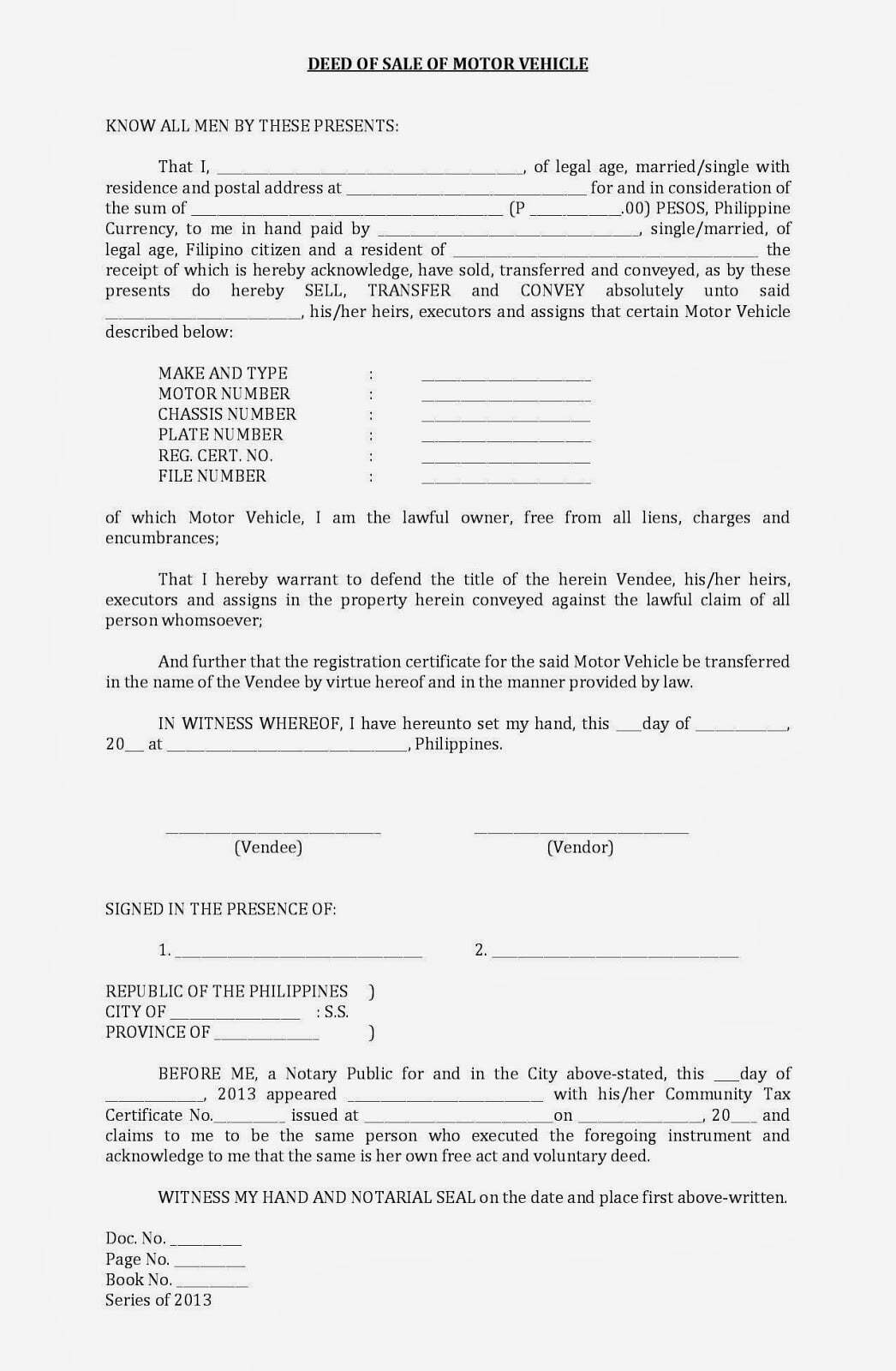 Sale Deed For Car Free Printable Documents