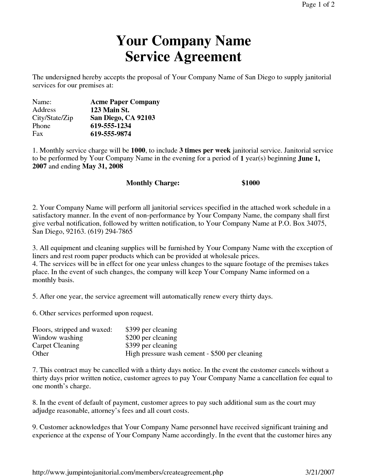 Sample Contracts For Writing Services