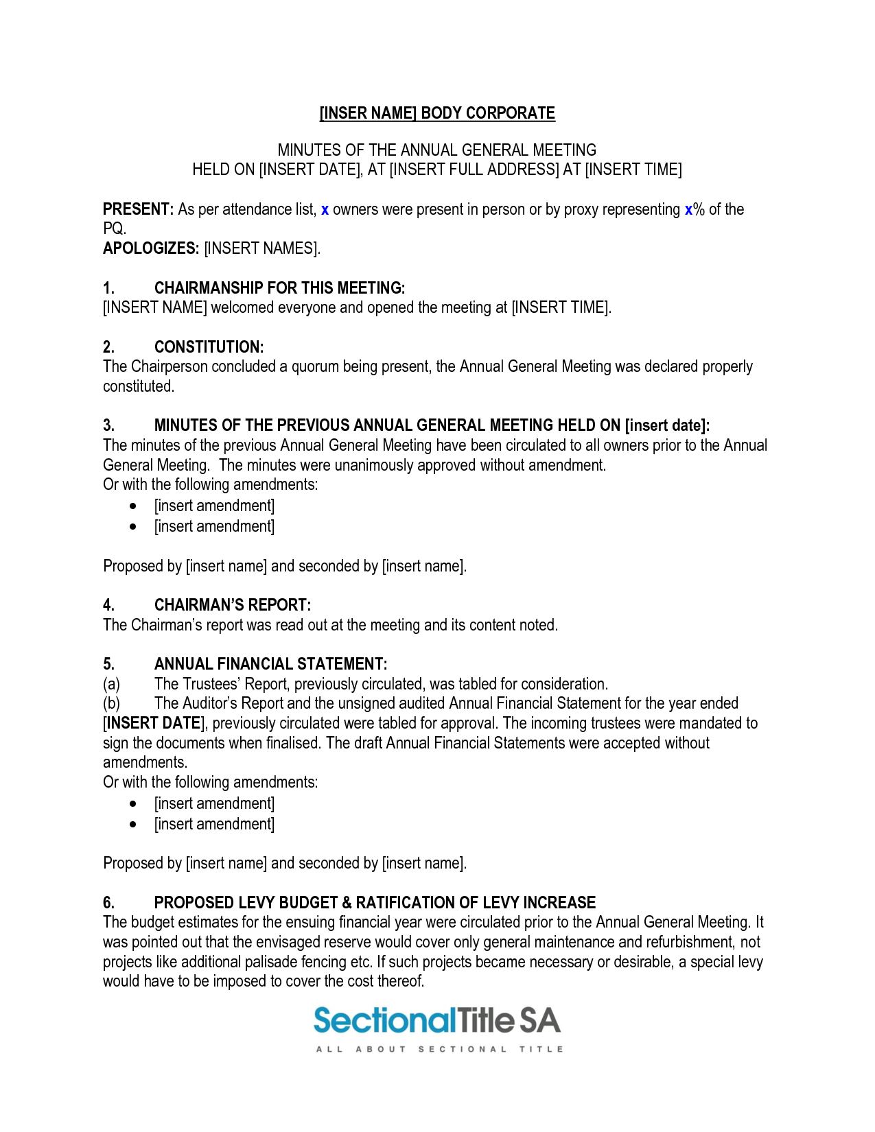 Sample Of Corporate Minutes - Free Printable Documents